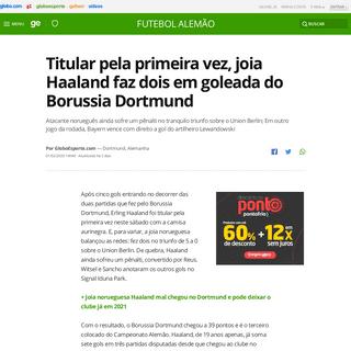Titular pela primeira vez, joia Haaland faz dois em goleada do Borussia Dortmund - futebol alemão - Globoesporte