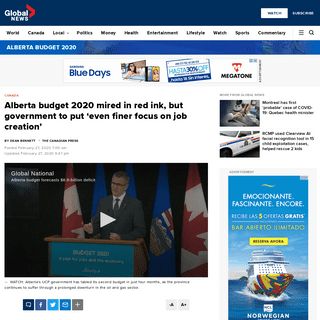 Alberta budget 2020 mired in red ink, but government to put 'even finer focus on job creation' - Globalnews.ca