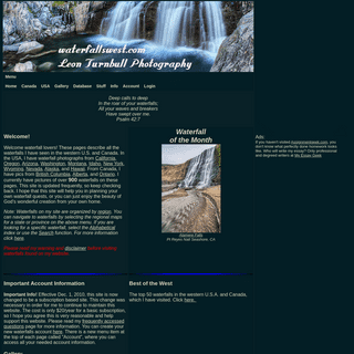 waterfallswest.com - Waterfalls of the western U.S.A. and Canada