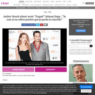 Amber Heard admet avoir -frappé- Johnny Depp- -Je suis si en colère parfois que je perds le contrôle- - Closer