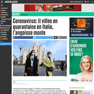 Coronavirus- 11 villes en quarantaine en Italie, l'angoisse monte - JDM