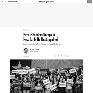 Opinion - Bernie Sanders Romps in Nevada. Is He Unstoppable- - The New York Times