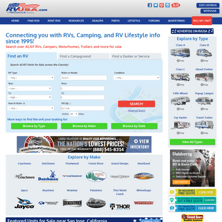 RVUSA- RVs for Sale Nationwide - plus Campgrounds, Parts, Service, Rentals, and More