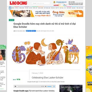 Google Doodle hôm nay vinh danh nữ thi sĩ trữ tình vĩ đại Else Schüler - Lao Động Online - LAODONG.VN - Tin tức