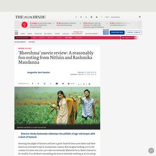 ArchiveBay.com - www.thehindu.com/entertainment/reviews/bheeshma-review-this-nithiin-rashmika-starrer-directed-by-venky-kudumula-is-reasonably-entertaining/article30879963.ece - Bheeshma review- This Nithiin-Rashmika starrer directed by Venky Kudumula is reasonably entertaining - The Hindu
