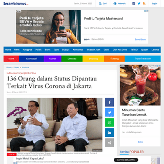 136 Orang dalam Status Dipantau Terkait Virus Corona di Jakarta - Serambi Indonesia