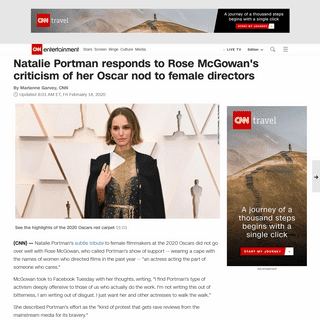 Natalie Portman responds to Rose McGowan's criticism of her Oscar nod to female directors - CNN