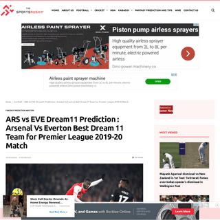 ARS vs EVE Dream11 Prediction - Arsenal Vs Everton Best Dream 11 Team for Premier League 2019-20 Match - The SportsRush