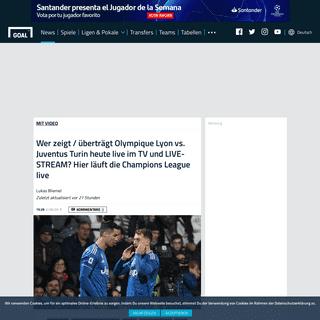 Wer zeigt - überträgt Olympique Lyon vs. Juventus Turin heute live im TV und LIVE-STREAM- Hier läuft die Champions League liv