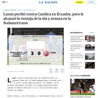 Lanús perdió contra Católica en Ecuador, pero le alcanzó la ventaja de la ida y avanza en la Sudamericana - LA NACION