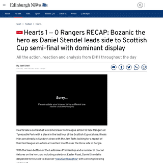 Hearts 1 –0Rangers RECAP- Bozanic the hero as Daniel Stendel leads side to Scottish Cup semi-final with dominant display -