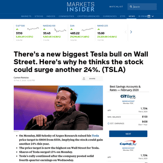 There's a new biggest Tesla bull on Wall Street. Here's why he thinks the stock could surge another 24-. (TSLA) - Markets Inside