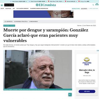 Muerte por dengue y sarampión- González García aclaró que eran pacientes muy vulnerables - El Cronista