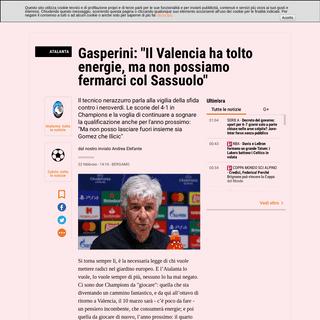 Atalanta-Sassuolo, Gasperini in conferenza stampa - La Gazzetta dello Sport - Tutto il rosa della vita