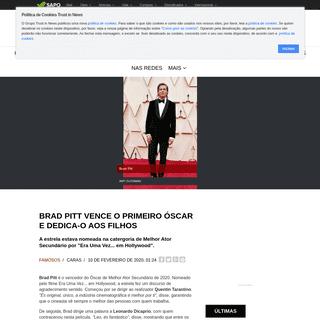 Brad Pitt vence o primeiro Óscar e dedica-o aos filhos - Caras