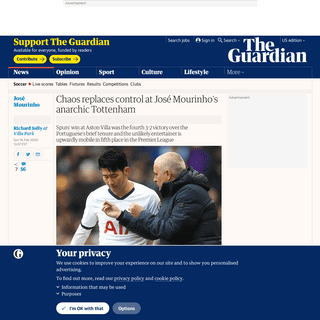 Chaos replaces control at José Mourinho's anarchic Tottenham - Football - The Guardian