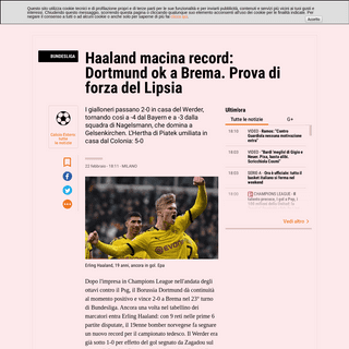Bundesliga, Haaland segna ancora e il Borussia Dortmund vince - La Gazzetta dello Sport - Tutto il rosa della vita