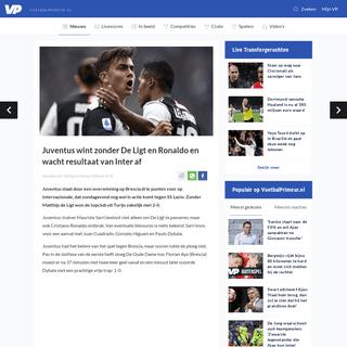 Juventus wint zonder De Ligt en Ronaldo en wacht resultaat van Inter af - Voetbalprimeur