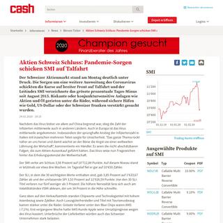 Aktien Schweiz Schluss- Pandemie-Sorgen schicken SMI auf Talfahrt - News - cash