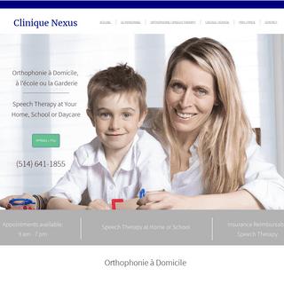 ArchiveBay.com - speechtherapistmontreal.ca - Clinique Nexus Orthophonie à Domicile- Orthophonie, Orthophonistes. Montréal, Laval, Longueuil, Brossard, Terrebonne, La Salle