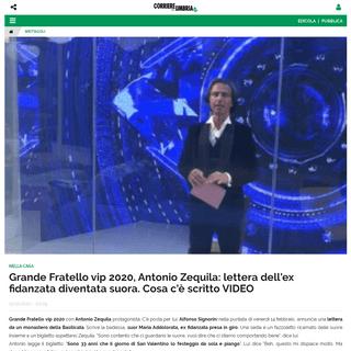 Grande Fratello vip 2020, Antonio Zequila- lettera dell'ex fidanzata diventata suora. Cosa c'è scritto VIDEO - Corriere dell'Um