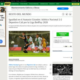 Atlético Nacional vs. Deportivo Cali- ver goles, resumen y video HIGHLIGHTS del 2-2 por fecha 5 de la Liga BetPlay 2020 Resto d