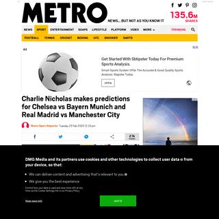 Charlie Nicholas makes predictions for Chelsea vs Bayern and Real Madrid vs Man City - Metro News