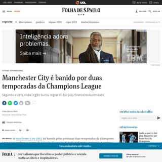 Manchester City é banido por duas temporadas da Champions League - 14-02-2020 - Esporte - Folha