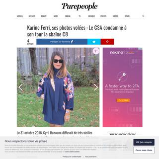 Karine Ferri, ses photos volées - Le CSA condamne à son tour la chaîne C8 - Purepeople