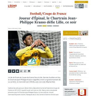 Joueur d'Épinal, le Chartrain Jean-Philippe Krasso défie Lille, ce soir - Chartres (28000)