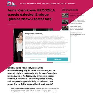 Anna Kurnikowa URODZIŁA trzecie dziecko! Enrique Iglesias znowu został tatą! - ESKA.pl