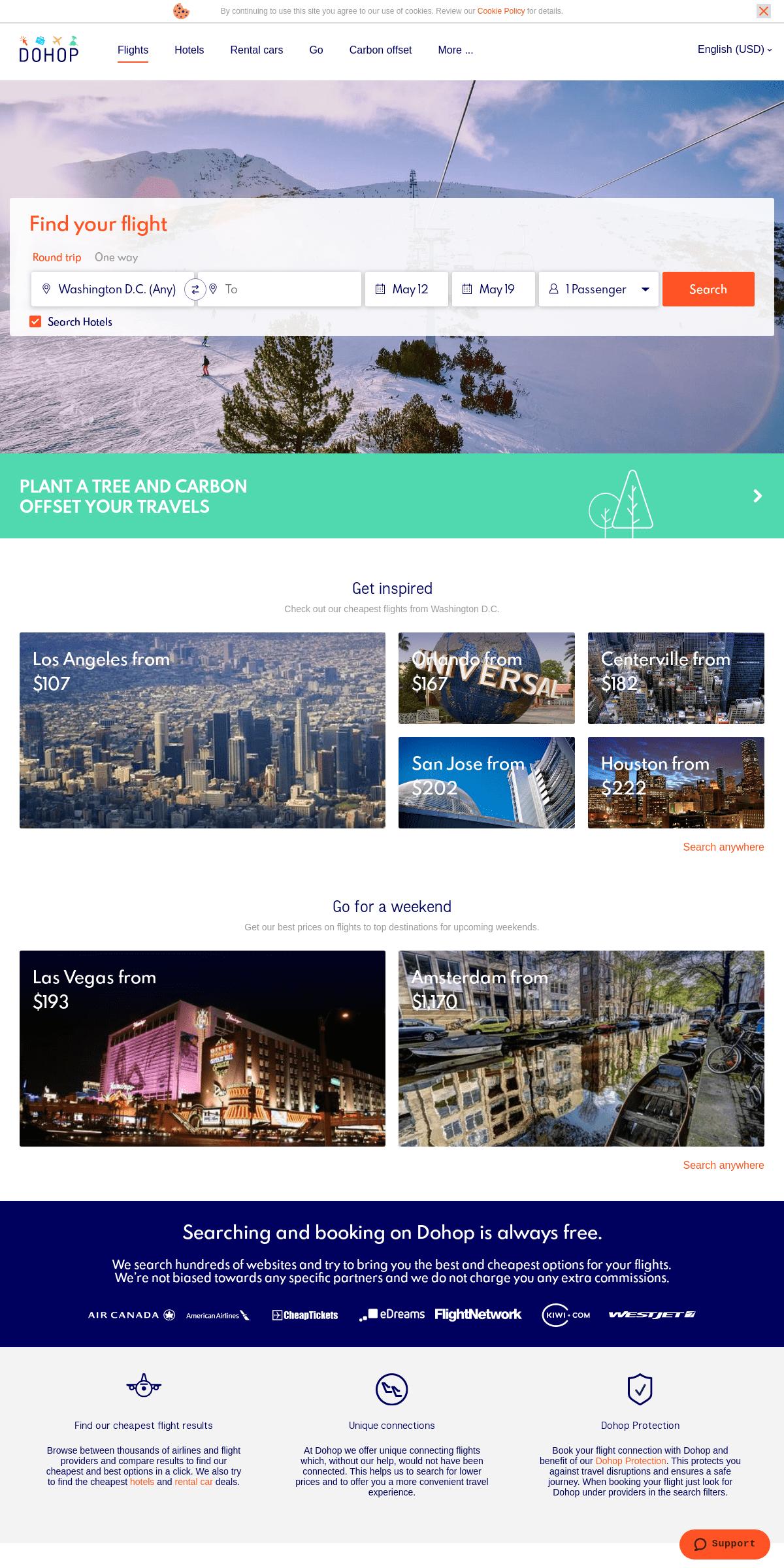 Cheap flights, Hotels and Rental cars - Dohop.com