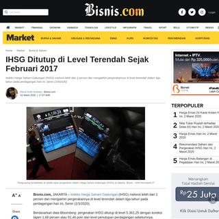 IHSG Ditutup di Level Terendah Sejak Februari 2017 - Market Bisnis.com