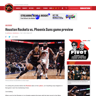 Houston Rockets vs. Phoenix Suns game preview - The Dream Shake