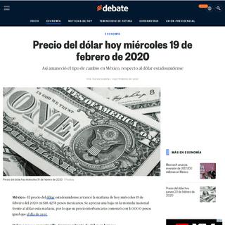 Precio del dólar hoy miércoles 19 de febrero de 2020 - EL DEBATE