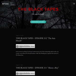 THE BLACK TAPES The Black Tapes Podcast