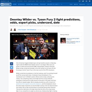 Deontay Wilder vs. Tyson Fury 2 fight predictions, odds, expert picks, undercard, date - CBSSports.com