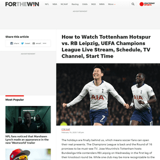 Tottenham Hotspur vs. RB Leipzig Live Stream- TV Channel, How to Watch