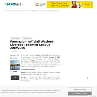 ArchiveBay.com - www.sportface.it/calcio/calcio-estero/formazioni-ufficiali-watford-liverpool-premier-league-2019-2020/997031 - FORMAZIONI UFFICIALI Watford-Liverpool- Premier League 2019-2020
