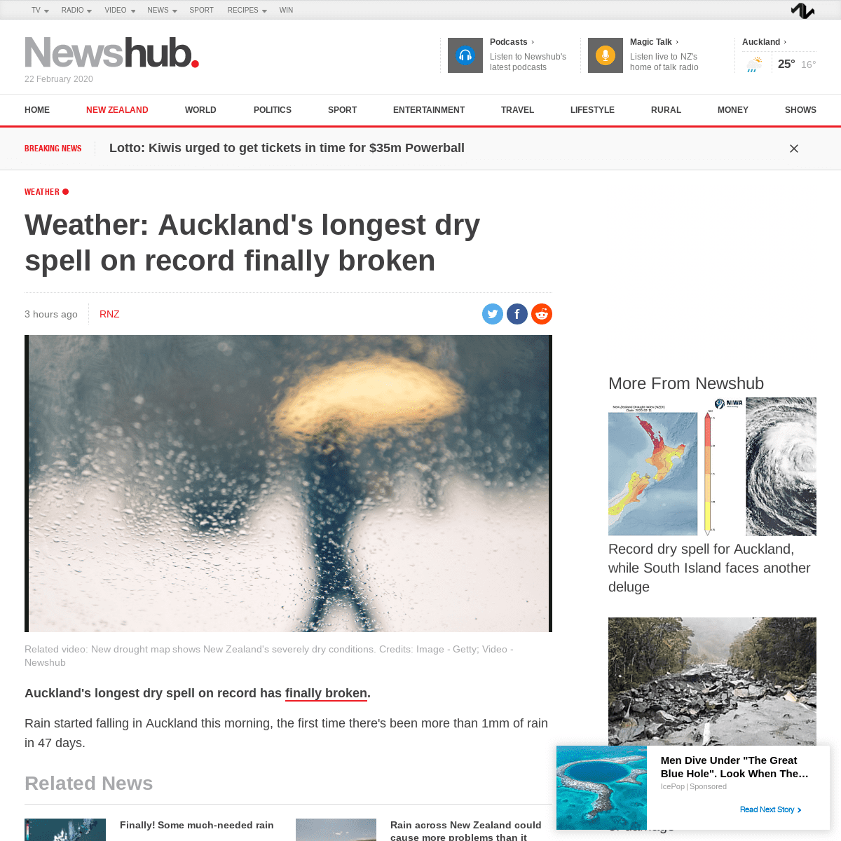ArchiveBay.com - www.newshub.co.nz/home/new-zealand/2020/02/weather-auckland-s-longest-dry-spell-on-record-finally-broken.html - Weather- Auckland's longest dry spell on record finally broken - Newshub