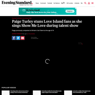 Paige Turley stuns Love Island fans as she sings Show Me Love during talent show - London Evening Standard
