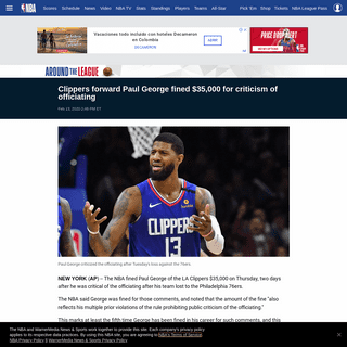 ArchiveBay.com - www.nba.com/article/2020/02/13/clippers-paul-george-fined-referee-criticism - Clippers forward Paul George fined $35,000 for criticism of officiating - NBA.com