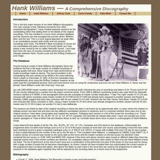 Hank Williams Discography