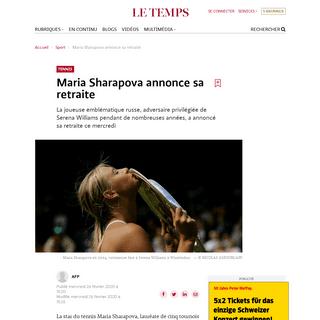 Maria Sharapova annonce sa retraite - Le Temps
