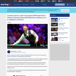 ArchiveBay.com - www.sportinglife.com/snooker/news/trump-sees-off-holt-perry-holds-firm/177702 - Snooker results- Judd Trump sees off Michael Holt in Players Championship; Neil Robertson crashes out in 6-4 defeat to Joe Perry