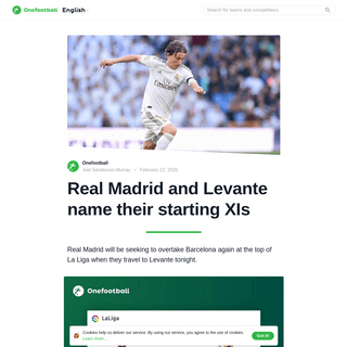 ArchiveBay.com - onefootball.com/cms/en/29229223 - Real Madrid and Levante name their starting XIs - Onefootball