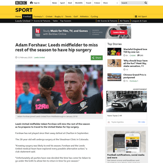 ArchiveBay.com - www.bbc.co.uk/sport/football/51473551 - Adam Forshaw- Leeds midfielder to miss rest of the season to have hip surgery - BBC Sport