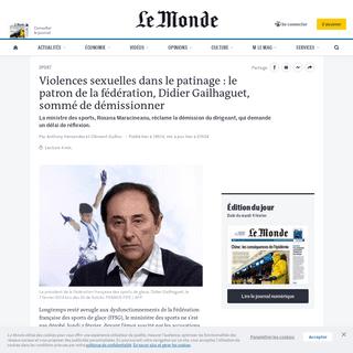 Violences sexuelles dans le patinage- le patron de la fédération, Didier Gailhaguet, sommé de démissionner
