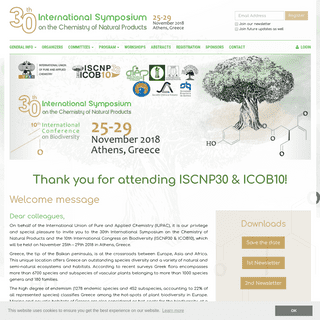 ArchiveBay.com - iscnp30-icob10.org - 30th International Symposium on the Chemistry of Natural Products - 25-29-11-2018 - Athens, Greece