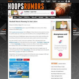 ArchiveBay.com - www.hoopsrumors.com/2020/02/markieff-morris-planning-to-join-lakers.html - Markieff Morris Planning To Join Lakers - Hoops Rumors